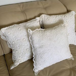 Crocheted Lace decorative pillows shabby chic